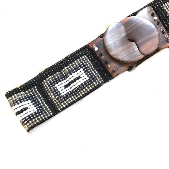 Vintage Accessories - 🎁Vintage Black White and Silver Beaded Wood Belt
